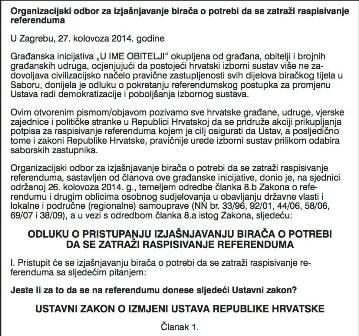 Organizacijski odbor poziva sve građane na izjašnjavanje