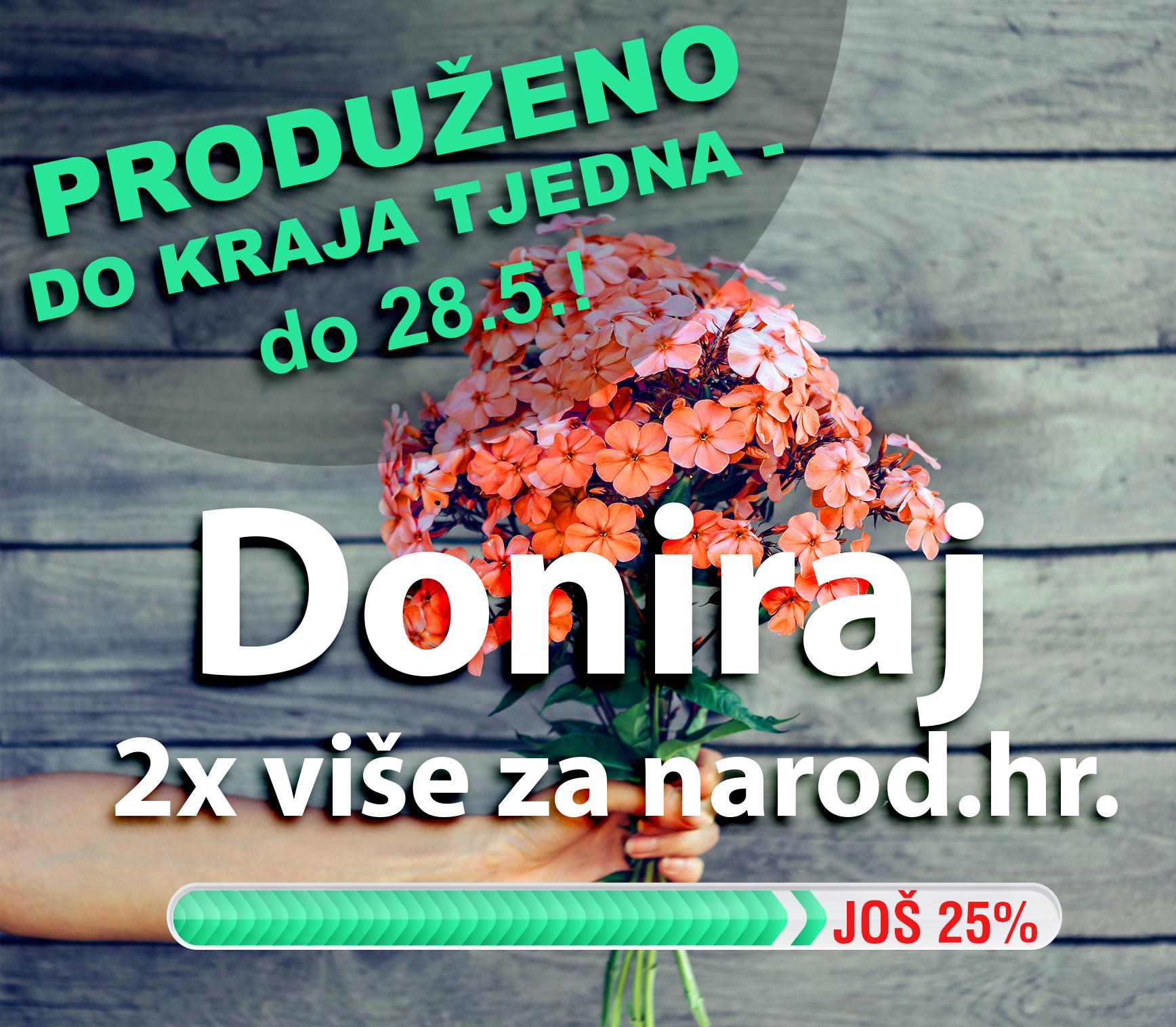 2x više za Narod.hr: Hvala za 75% ciljane svote, nedostaje još 25%!