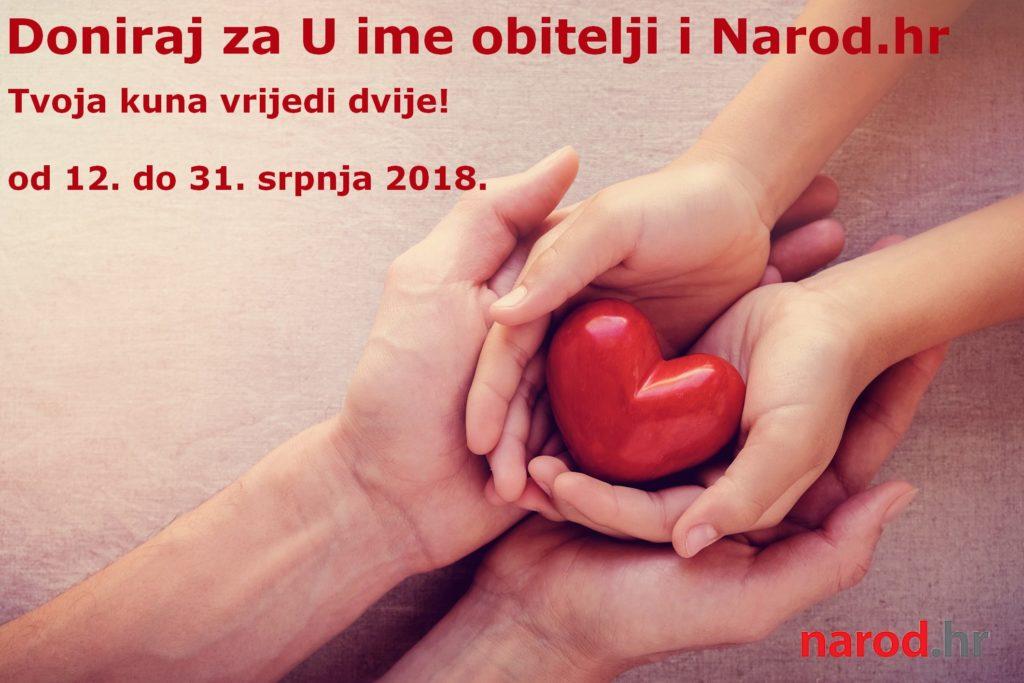 Dva puta više za U ime obitelji i Narod.hr: Svaka vaša kuna donacije do 31.7. vrijedi dvostruko!