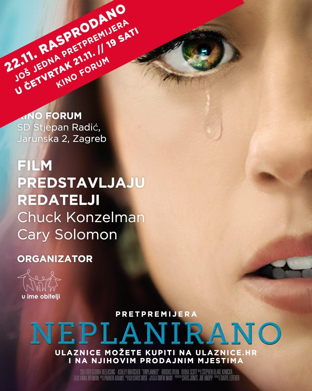 (VIDEO) Prva pretpremijera hit filma 'Neplanirano' rasprodana, još jedna u četvrtak 21.11.