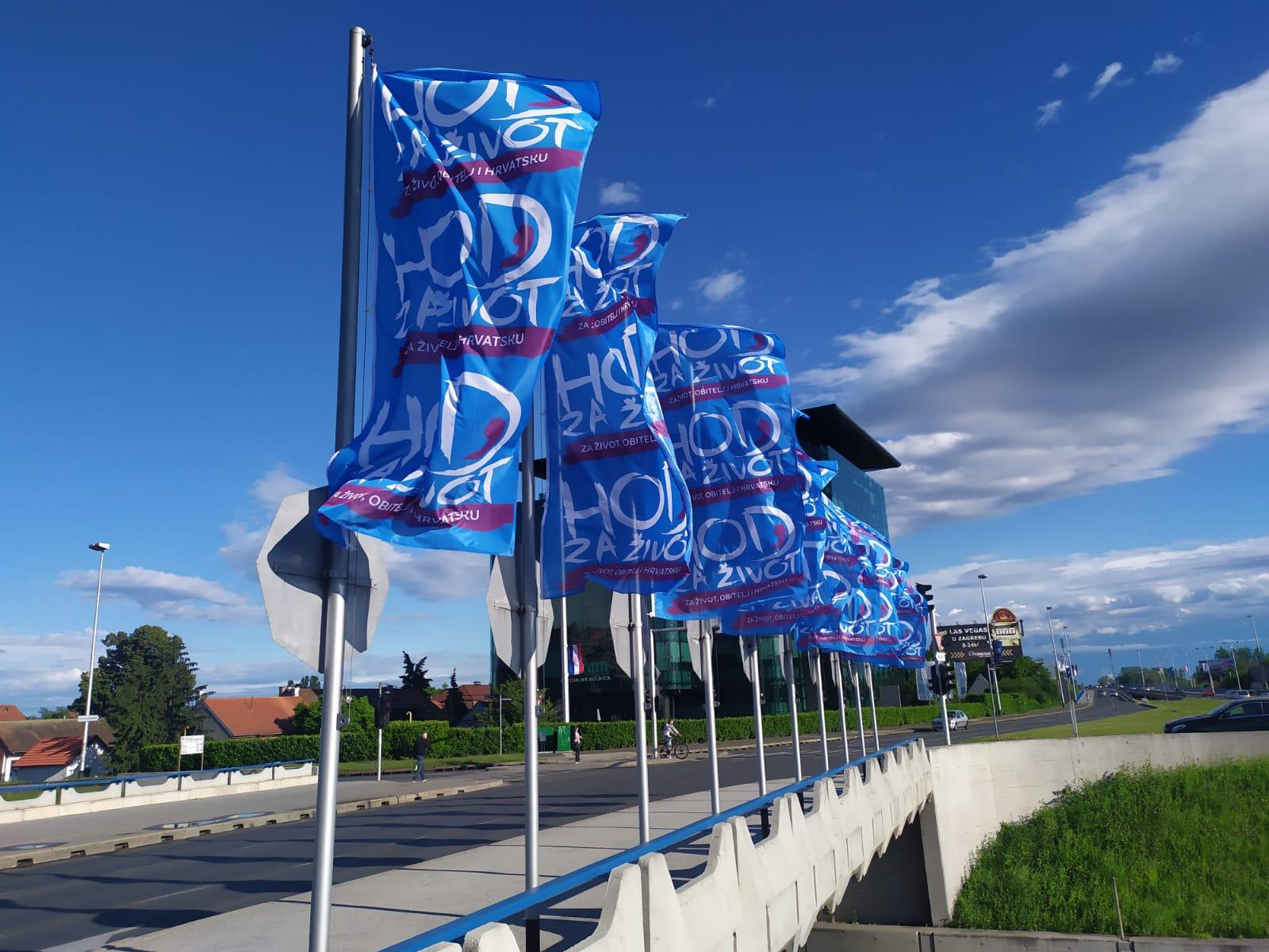 (FOTO) U Zagrebu izvješene zastave Hoda za život